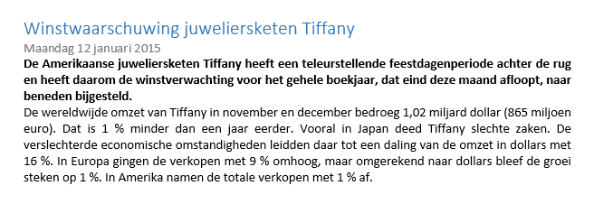 Koersdaling Tiffany 3