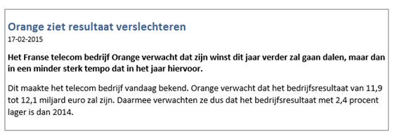 Koersdaling Orange