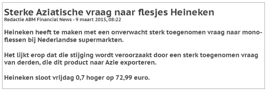 Fictief aandelen kopen Heineken