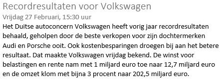 Slim online beleggen Volkswagen