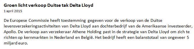 Winst met speculeren Delta Lloyd