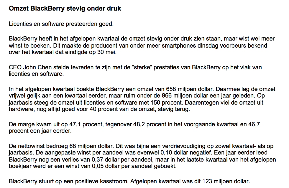 Online handelen in aandelen BlackBerry