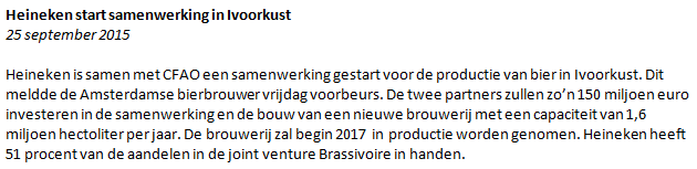 Figuur 2: Ik wil aandelen kopen Heineken – Nieuwsbericht Heineken.
