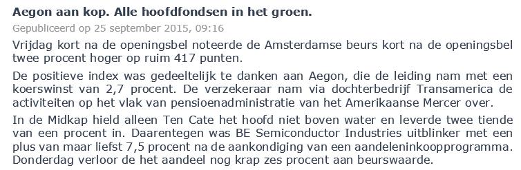 Figuur 1: Verstandig aandelen kopen Aegon – Nieuwsbericht. Klik om te vergroten.