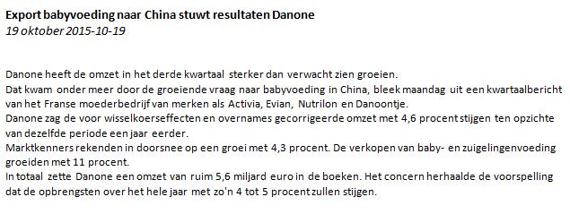 Figuur 2: Zelf daghandelen Danone – Nieuwsbericht. Klik om te vergroten.