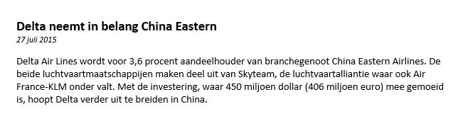 Figuur 2: Winst met daytraden Delta Air Lines – Nieuwsbericht. Klik om te vergroten.