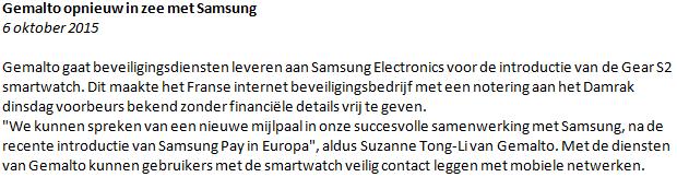 Figuur 2: Slim beleggen Gemalto – Nieuwsbericht. Klik om te vergroten.