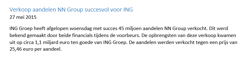 Figuur 2: Aandelen verhandelen ING – Nieuwsbericht. Klik om te vergroten.