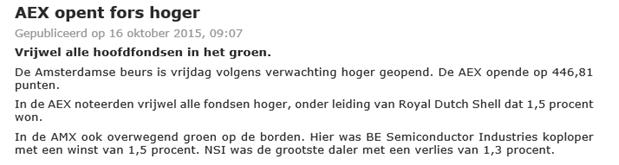 Indexbeleggen in de Nederlandse beurs nieuwsbericht