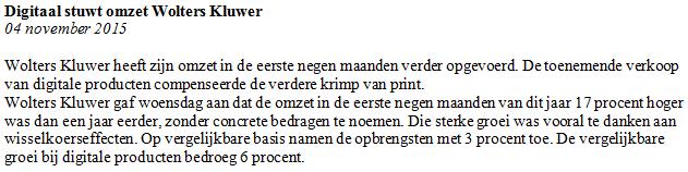 Figuur 2: Winst met beleggen op Wolters Kluwer – Nieuwsbericht. Klik om te vergroten.